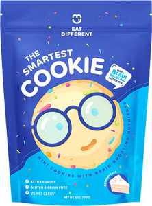 Smart Keto Cookies - Healthy Low Carb Snacks w/ Key Brain Boosting Nutrients for Kids & Adults – High Protein Gluten Free Snack Food –Paleo & Diabetic Friendly Sweets -No Added Sugar Complete Dessert