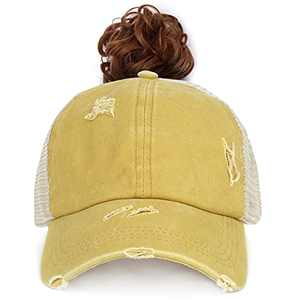 FADACHY High Criss Cross Ponytail Hat Mesh Back Baseball Cap Vintage Washed Adjustable Athletic Mesh Trucker HatsPony Tail Hat Distressed Messy Bun Poonycaps for Women Yellow