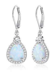 MUSECLOUD 925 Sterling Silver Opal Dangle Earrings Halo Teardrop Earrings White Gold Plated Opal Drop Earrings For Women Leverback Jewelry (Silver)