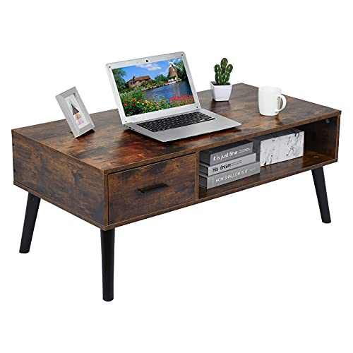 Retro Coffee Table, 43 Inch Wooden Mid-Century Modern Coffee Table with 1 Drawer and Open Storage Shelf, Vintage TV Office Cocktail Table for Home Living Room Indoor, Rustic Brown (Brown)