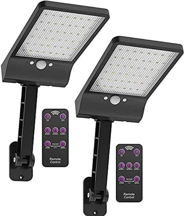 [Pack of 2] Solar Lights Outdoor with Remote 2700K 3000K 4000K 5000K 6000K Selectable, 48LED Solar Motion Sensor Light with 3 Modes,Waterproof IP65 Night Light for Garden Garage