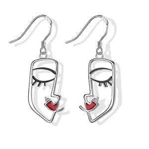 Face Earrings MUSECLOUD 925 Sterling Silver Weird Dangle Earrings For Women White Gold Plated Abstract Aesthetic Earrings Unique Cool Jewelry (Silver)