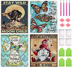 4 Pack 5D Diamond Painting Kits for Adults, Diamond Art Packs for Kids Beginners, Full Round Drill Diamond Dots Diamond Paintings Multiple Packs, Home Wall Decor (Butterfly Gnome Art 12x16 inch)