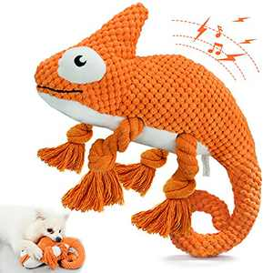 Plush Dog Squeaky Toys, Durable Rope Dog Chew Toys for Puppy Small Medium Breed Teeth Cleaning, Interactive Stuffed Animals Toys- Cute Chameleon (Orange)
