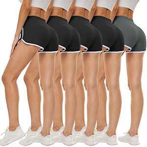5 Pack Womens Dolphin Shorts Women's Sweat Booty Shorts Short Yoga Pants Soft Sports Workout Running Shorts for Women