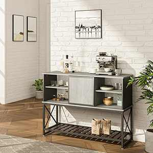 Industrial Bar Cabinet Buffet Sideboard Farmhouse Wood Coffee Bar Cabinet with Adjustable Shelf Inside Kitchen Storage Cabinet with Sliding Metal Door