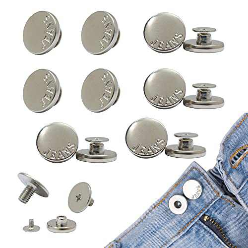 Button Pins Adjustable for Jeans Pants Men Women, COUPRUM Instant Jeans Buttons Replacement No Sew, Movable Metal Buttons to Make Jeans Pants Smaller, Reusable Sewing Button Pins Tool Free Silver