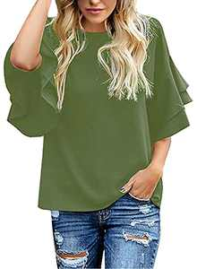 Lookbook Store Women Shirt Summer Casual Crewneck Ruffle 3/4 Tiered Bell Sleeve Blouse Tops Lightweight Loose Shirts for Ladies Army Green Size X-Large