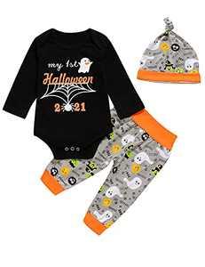 Aslaylme Baby Boy Halloween Outfit Newborn Halloween Outfit 1st Halloween Clothes (Gray,3-6 Months)