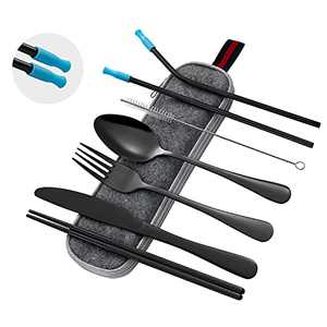 Travel Utensils Set with Case Portable Cutlery Reusable Silverware Set for Lunch Boxes Workplace Camping School Picnic