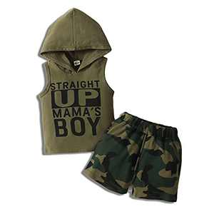 Infant Baby Straight Up Mama's Boy Hoodie Tank Top Camouflage Shorts Outfits Set (Army Green, 2-3 Years, 2_Years)