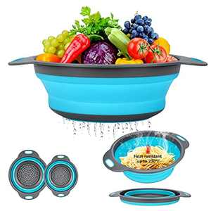 Collapsible Colander Basket Wash Fruits & Vegetables Strainer 2 of Set (1 Large 1 Small ) Round Silicone 3 Color to Mother for Kitchen Home (Blue)