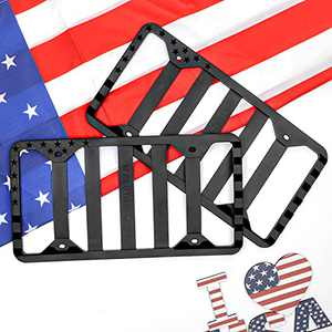 Silicone American Flag License Plate Frame, USA Flag License Plate Covers Without Obstruction, Black License Plate Holder for Car, Truck and SUV, Rust-Proof & Rattle-Proof & Weatherproof (2 Pack)