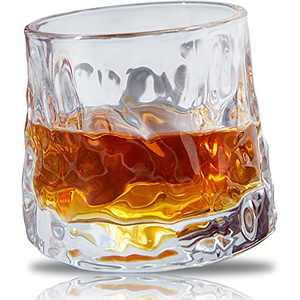 Msaaex Whiskey Glasses Old Fashioned Spherical Bottom Rotatable CrystalCocktail Glass Bourbon Glasses for Scotch, Liquor Drinking for Men - 1 Pc -Irregular