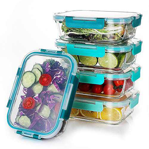 5 PACK Glass Meal Prep Containers, Food Storage Containers with Lids Airtight, Glass Bento Boxes, Microwave, Oven, Freezer and Dishwasher Safe, by SveBake