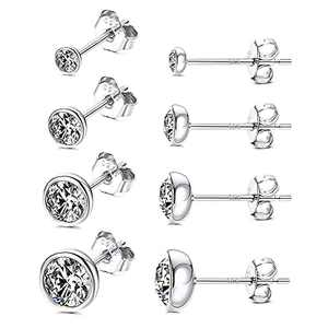 Small Stud Earrings MUSECLOUD 925 Sterling Silver Bezel Crystal Stud Earrings for Women Men Cartilage Earrings Set 2mm 3mm 4mm 5mm Round Crystal Jewelry Gift 4 Pairs (Silver)