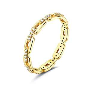 MUSECLOUD 14K Gold Plated Rings 925 Sterling Silver Link Chain Rings Simple Cubic Zirconia Band Stacking Rings For Women (8)