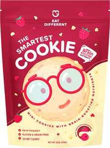 Smart Cookies, Gourmet Low Carb Keto Brain Food Protein Snack w/ Nootropics, Legendary Gluten Free Healthy Snacks w/ Zero Added Sugar | High IQ Foods, Diabetic & Bariatric Friendly Sweets(White Choc)