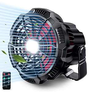 Portable Fan Camping Fan for Tents, 30 Hours Work-time Camping Lantern Desk Fan with Power Bank, Clip and Remote, Rechargeable Battery Operated Fan for Hiking, BBQ, Garden, Bedroom, Office, Hurricane