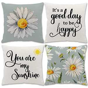 Utiginye Pillow Covers 18x18 Inch Set of 4 Daisy Decor Summer Pillow Covers Flower Pillow Covers Blue Sunflower Decor Pillow Case Sayings Farmhouse Decor Pillows Home Decor Pillow Decorative for Sofa