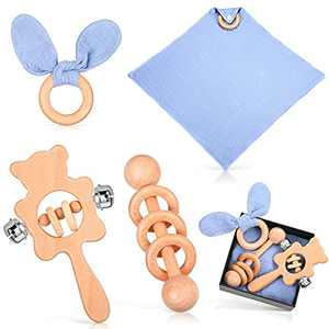 4 Pieces Wood Rattle Teether Ring Set Wooden Bear Rattle Toys Grasping Toys Wooden Molar Rattles Bunny Ear Teething Ring Baby Security Blanket Organic Wood Montessori Styled Rattles (Blue)