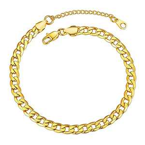 Fesciory Women Anklet Adjustable Beach Ankle Chain Gold Alloy Foot Chain Bracelet Jewelry Gift(Cuban Chain)