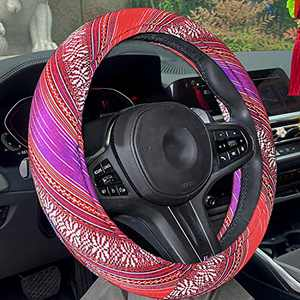 Red Steering Wheel Cover for Women.Universal 15inch Sweat Absorption Steering Wheel Cover with Coarse Flax Cloth SWC0 (Purple-red)