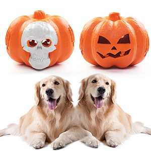 Pumpkin Dog Toys for Aggressive Chewers & Large Dogs, Interactive Dog Toys, WHRPEN 100% Natural Rubber Fun to Chew Indestructible Dog Chew Toys