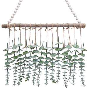 Dongzhur Artificial Eucalyptus Fall Wall Hanging Decor-Boho Fake Eucalyptus Leaves Greenery Fall Wall Hanging Decoration with White Beaded for Wedding,Bedroom,Kitchen,Nursery,Party and Bathroom, Home