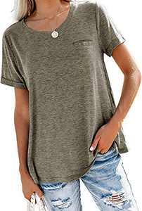 Angerella Womens Short Sleeve Tops Loose Crew Neck T Shirts Summer Casual Pocket Tee Shirt Tunic Top Brown XL