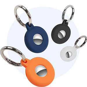 TopMade Protective Case for Airtag, 4 Pack Anti-lost Silicone Case Protector Cover for AirTags with Keychain Anti-Scratch Airtag Secure Holder Cover for Apple AirTag Tracker 2021 Key Finder Pet Finder