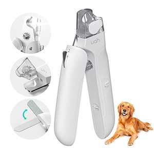 uahpet Nail Clippers and Trimmers with LED Light Sharp Blade Nail File and Nail Storage Box to Avoid Over Cutting Professional Grooming Smoothing Tool for Small Medium Large Dogs and Cats