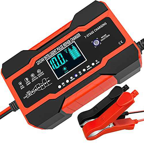 10-Amp Car Battery Charger, 12V and 24V Smart Fully Automatic Battery Charger Maintainer Trickle Charger w/ Temperature Compensation for Car Truck Motorcycle Lawn Mower Boat Marine Lead Acid Batteries