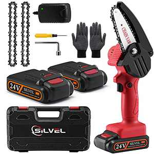 Mini Chainsaw - 4 Inch 20V Battery Powered Chainsaw, Cordless Portable Hand Chainsaw with 2 Batteries and 2 Chain, Electric Pruning Saw for Tree Trimming, Garden Pruning, Branch Wood Cutting (Red)