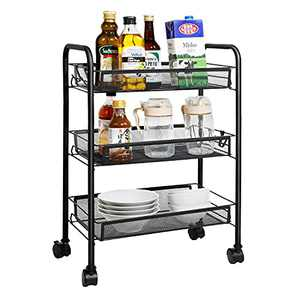 Mesh Rolling Utility Cart Multifunctional Storage Cart with 4 Free Rolling Casters, 2 Lockable Wheels, 4 Hooks for Home, Office, Kitchen, Bathroom, Bedroom, Storage Organizer (Black, 3-Tier)