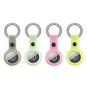 Protective Case for Apple AirTag Tracker Holder with Keychain, Easy Attach to Keys Backpacks (Yellow Green+Ocean Blue+Pink+Grey, 4 pcs)