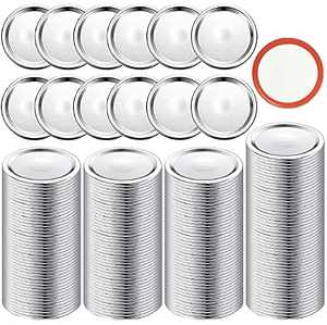 220PCS Canning Lids Regular Mouth, Ybaoo Small Mouth Mason Jar Lids for Canning, Food Grade Material Split-Type Lids with Silicone Seals Rings(Sliver-70MM)
