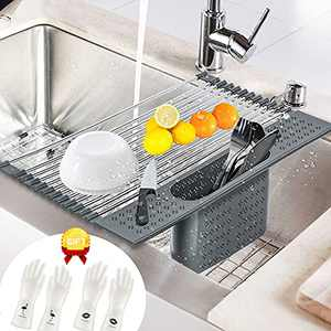 """Roll up Dish Drying Rack Multipurpose Over Sink Folding Drainer for Kitchen, Foldable SUS304 Stainless Steel Dish Rack with Drain Basket for Cups Fruits Vegetables (Grey, 17.32""""X11"""")"""