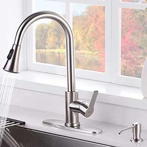AMAZING FORCE Pull Down Kitchen Faucet with Soap Dispenser Nickel Kitchen Sink Faucet with Spray Single Handle Kitchen Faucet Utility Sink Brushed Nickel