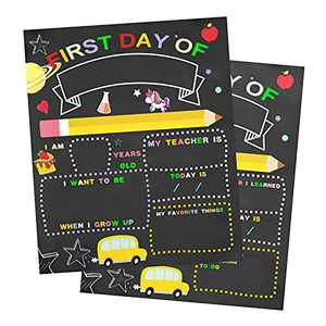 """buddy4baby First Day and Last Day of School Chalkboard, Easy to Clean Double Sided Reusable Chalkboard Sign, 10"""" x 12"""" Wooden Chalk Board, Small Chalkboard Signs Photo Propto School Supplies"""