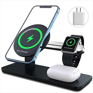 ANPULES 3 in 1 Magnetic Wireless Charger Station, Fast Wireless Charging Stand with PD 18W Adapter Compatible with iPhone 13 Pro Max/Mini/12 Series AirPods2 iWatch Series (Only for iPhone13/12 Series)
