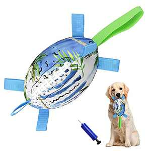 Dog Football with Grab Tabs, Interactive Dog Toys for Tug of War, Rubber Dog Tug Toy, Dog Water Toy, Durable Dog Balls for Medium/Large Breeds