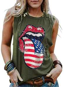 Women's American Flag Sunflower Tanks Tops Sleeveless 4th of July Patriotic Graphic Tees Vest (Green-01, X-Large, x_l)