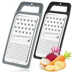 Paffenery 2PCS Handheld Stainless Steel Cheese Grater for Kitchen, Citrus Lemon Zester & Cheese Grater with Vegetable Peeler, Food Grater Zester Cheese Nutmeg Lemon Garlic Ginger Planer Black and Grey