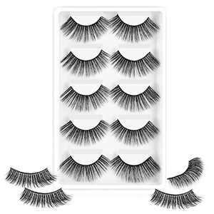 Rosmax 3D Faux Mink Fluffy False Eyelashes, Long Thick Volume Wispy Natural Lashes, 5 Pairs Pack, R-4 Style