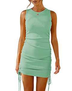 Machico Women Sleeveless Dress Crew Neck Ruched Bodycon Short Dress Drawstring Casual Summer Tank Mini Dresses Light Green