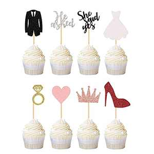 He Asked She Said Yes Sign Cupcake Toppers, Glitter Pink Heart Rose Gold Crown Diamond Ring White Wedding Dress Red High Heels Black Suit for Wedding Engagement Bridal Party Cupcake Decorations 24 Pcs