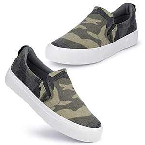 JENN ARDOR Women Fashion Slip On Flats Shoes Classic Low Top Perforated Sneakers Casual Comfortable Walking Shoes Camouflage