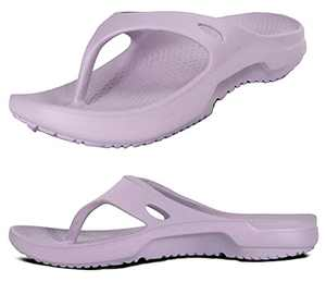 Arch Support Comfortable Sandals for Women Plantar Fasciitis Flip Flops Exercise Active Sport Recovery Thong Shoes Ladies Memory Foam Pillow Wide Summer Indoor Shoe Purple Size 8