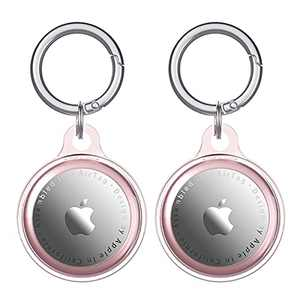 Dezem 2Pack Protect Case and Keychain for Airtag 2021,Both Sides Closed TPU Airtag Loop Holder